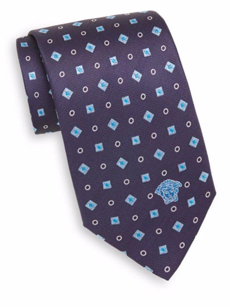 Versace Men's Silk Diamond & Square Foulard Tie, OS (Blue)