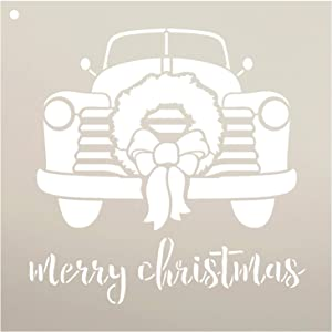 Merry Christmas Truck with Wreath Stencil - by StudioR12 | Reusable Mylar Template | Use to Paint Wood Signs - Pallets - DIY Christmas Season Decor - Select Size (12