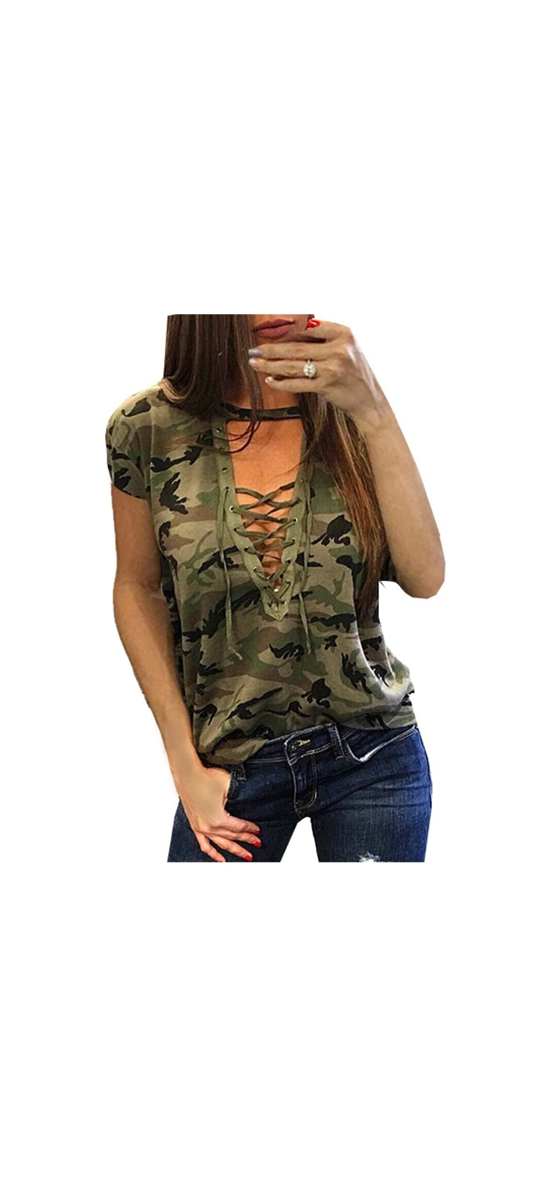 Women Camouflage Print V-neck Lace-up T-shirt