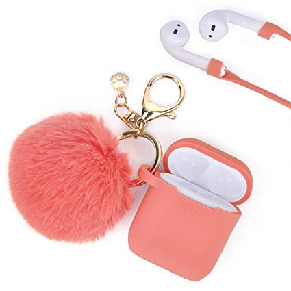 release date: 8e987 83bcb Airpods Case - Filoto Airpods Silicone Glittery Cute Case Cover with  Keychain/Strap for Apple Airpod (Living Coral)