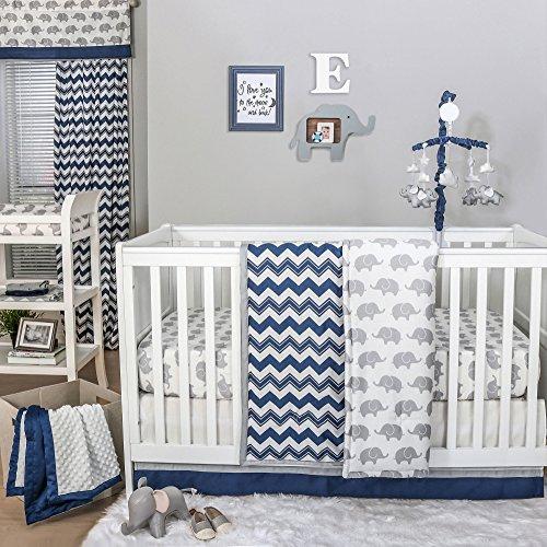 Eli Navy Chevron/Grey Elephant Baby Crib Bedding - 20 Piece Nursery Essentials Set