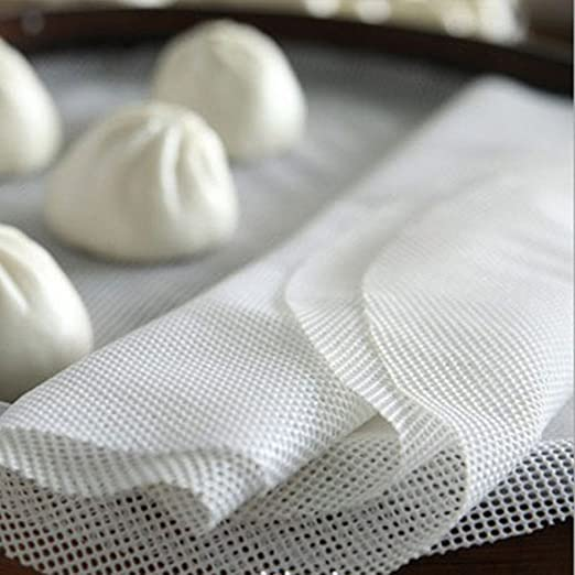 White Cotton Steam Dim Sum Kitchen Non-stick Under Bamboo Steamer Mat Square