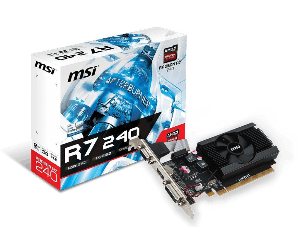 MSI AMD Radeon R72402364P 2GB DDR3 VGA/DVI/HDMI Low Profile PCI-Express Video Card by MSI