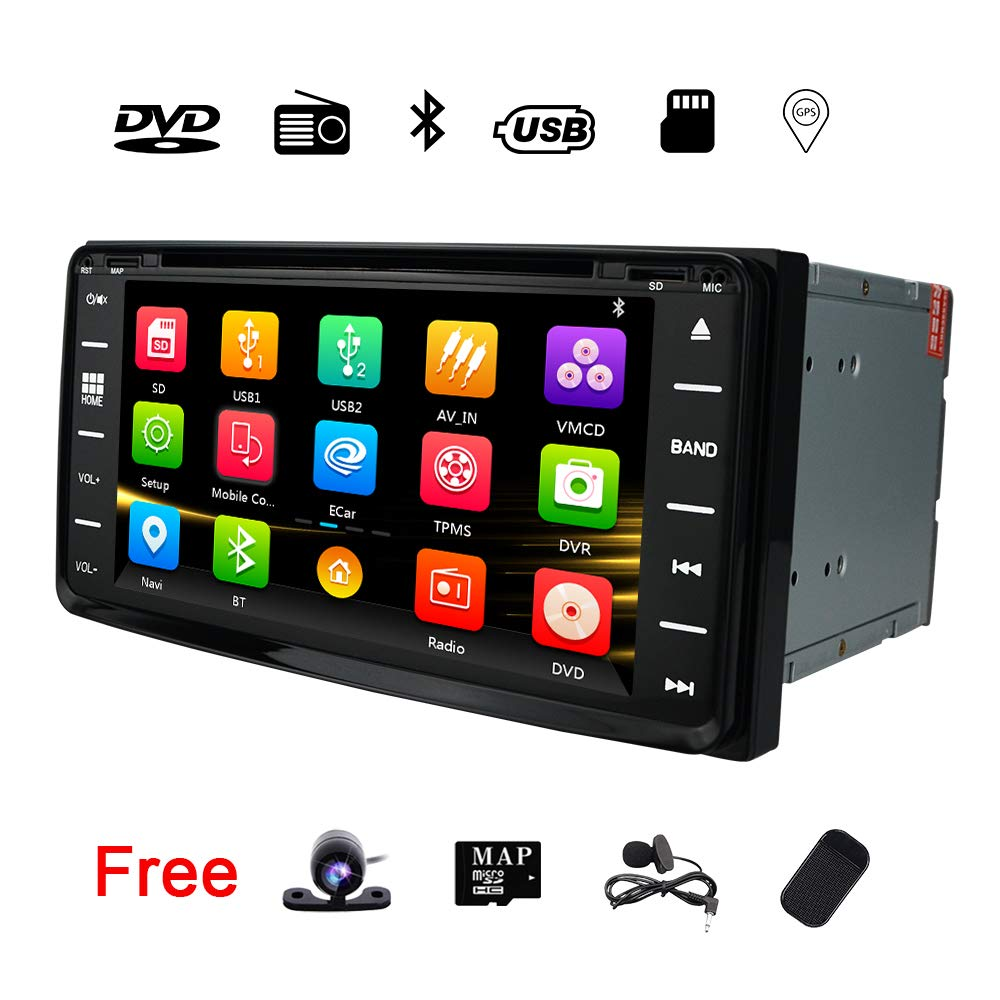 Double Din Car Stereo Radio Receiver DVD in Dash GPS Navigation for Toyota RAV4 Corolla Prado Camry 4Runner Hilux Tundra Vios Universal 6.95 Inch HD Touch Screen Head Unit Bluetooth Touch Screen