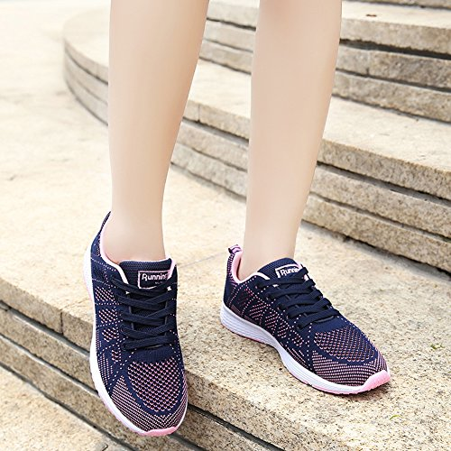 Up Breathable Women Athletic Sneakers Flats upper Lightweight Running Flyknit Sport breathable A08B BIGTREE Lace Casual Shoes Men Navy A8BqgxYwY