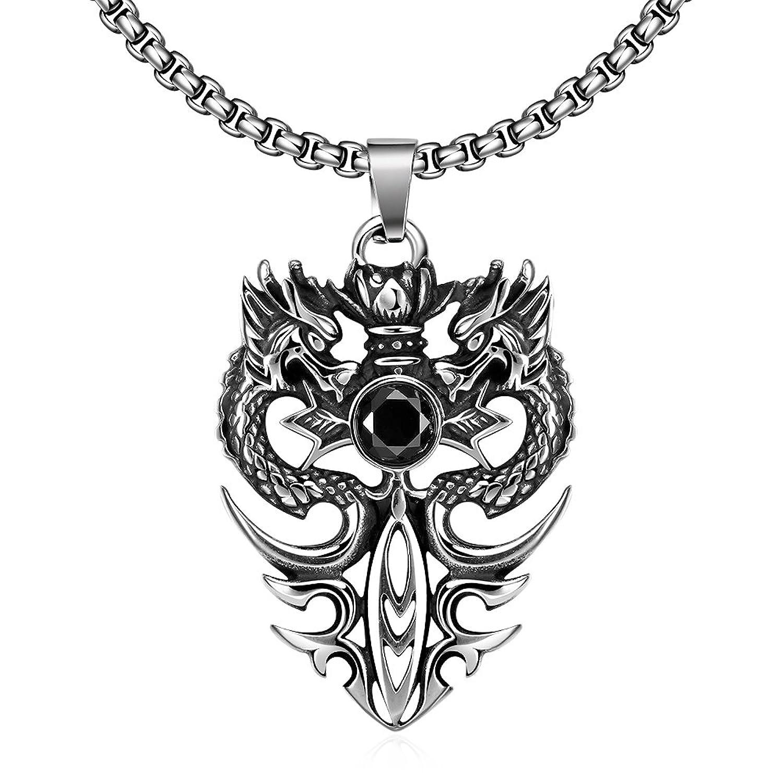 YAZILIND retro Gothic Lolita joyeria Vintage Halloween estilo titanio doble collar colgante de dragon de acero para los padres de los hombres