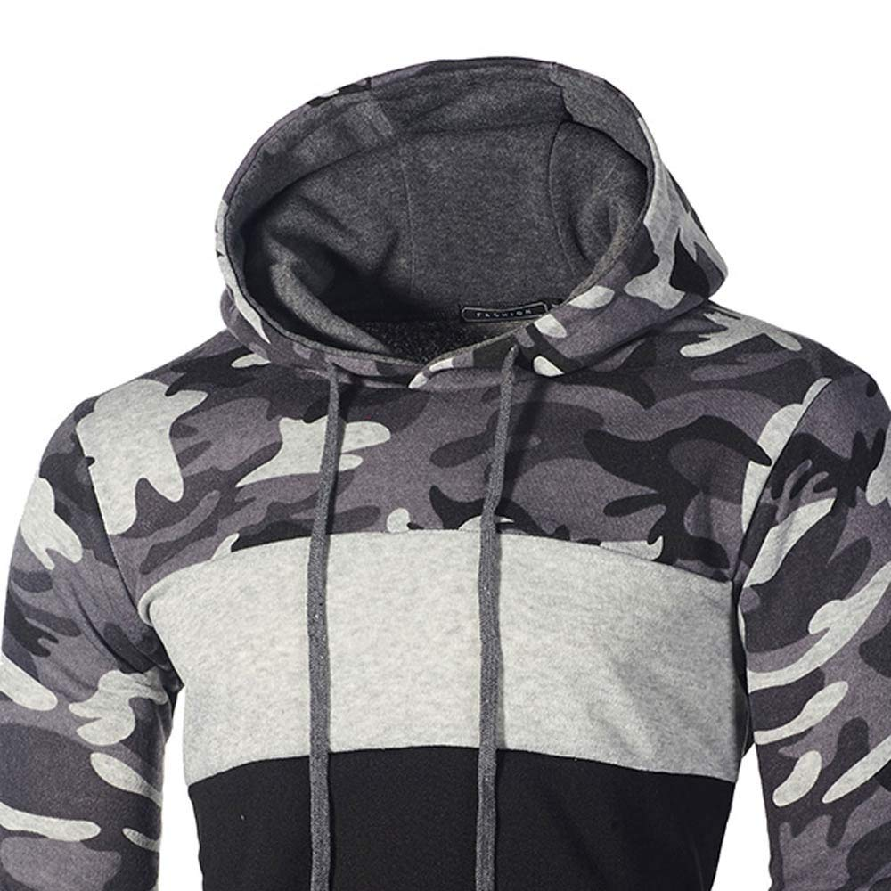 Rambling Fashion Mens Camouflage Plus Size Pullover Long Sleeve Hooded Sweatshirt Tops Blouse by Rambling-Men's hoodie (Image #3)