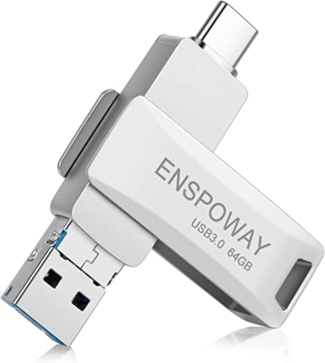 enspoway unità flash USB C 3 in 1 archiviazione esterna con Chiavetta USB C 64Gb