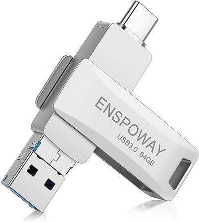ENSPOWAY USB C Stick 64GB 3 in 1 USB Stick 64GB,Silber OTG Flash Drive USB 3.0 Dual Flash Laufwerk mit Schl/üsselanh/änger f/ür Android,MacBook Pro,Laptop Pendrive USB-Stick Type C Speicherstick