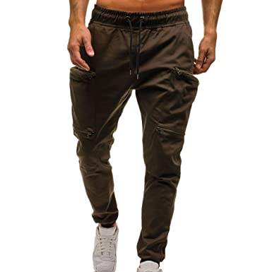 YiYLunneo Pantalones Casuales Hombre Bolsillo Grande Moda Pantalones Pantalón Monocromo Pantalones Vaqueros para Ajustado Harem Pantalones Pants