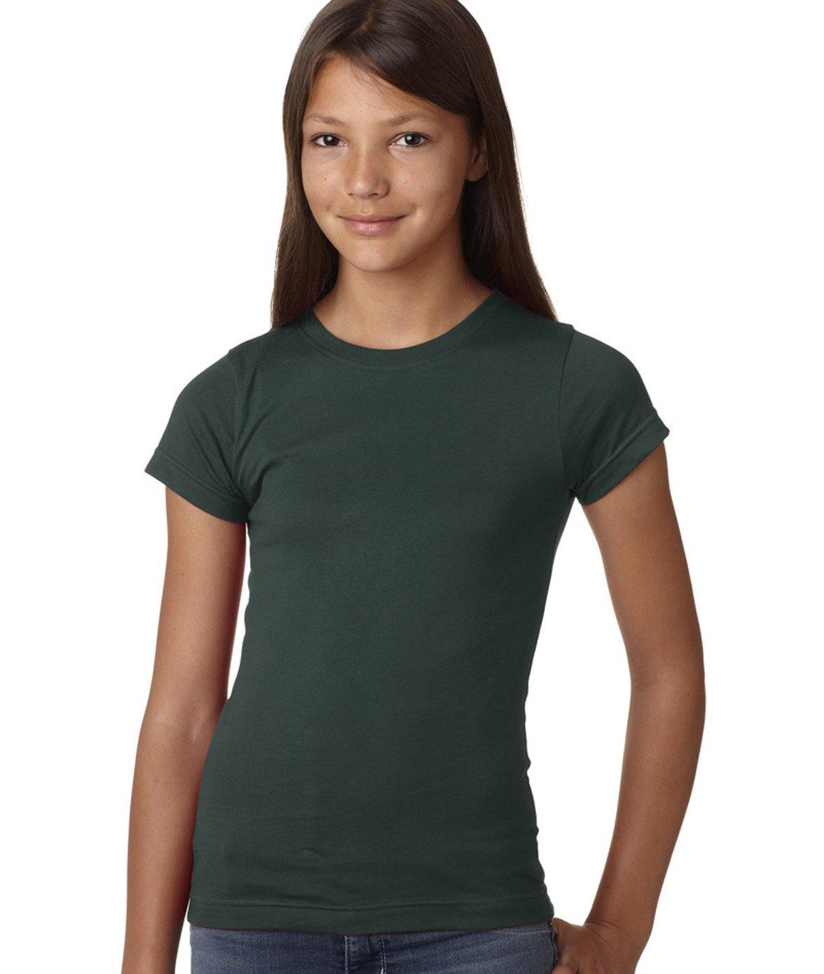LAT Sportswear Girl's Fine Jersey Longer-Length T-Shirt, Forest, X-Large