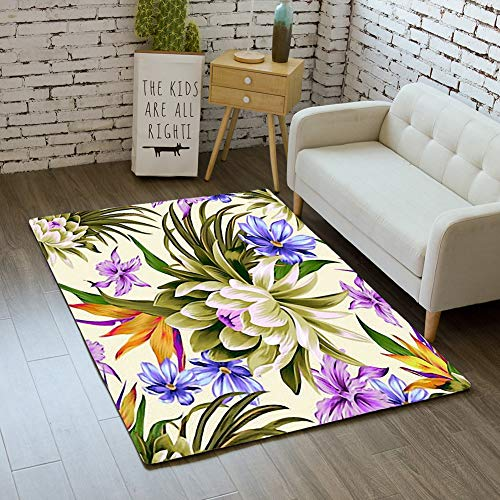 iBathRugs Door Mat Indoor Area Rugs Living Room Carpets Home Decor Rug Bedroom Floor Mats,Vector Tropical Pattern Waterlily Lotus