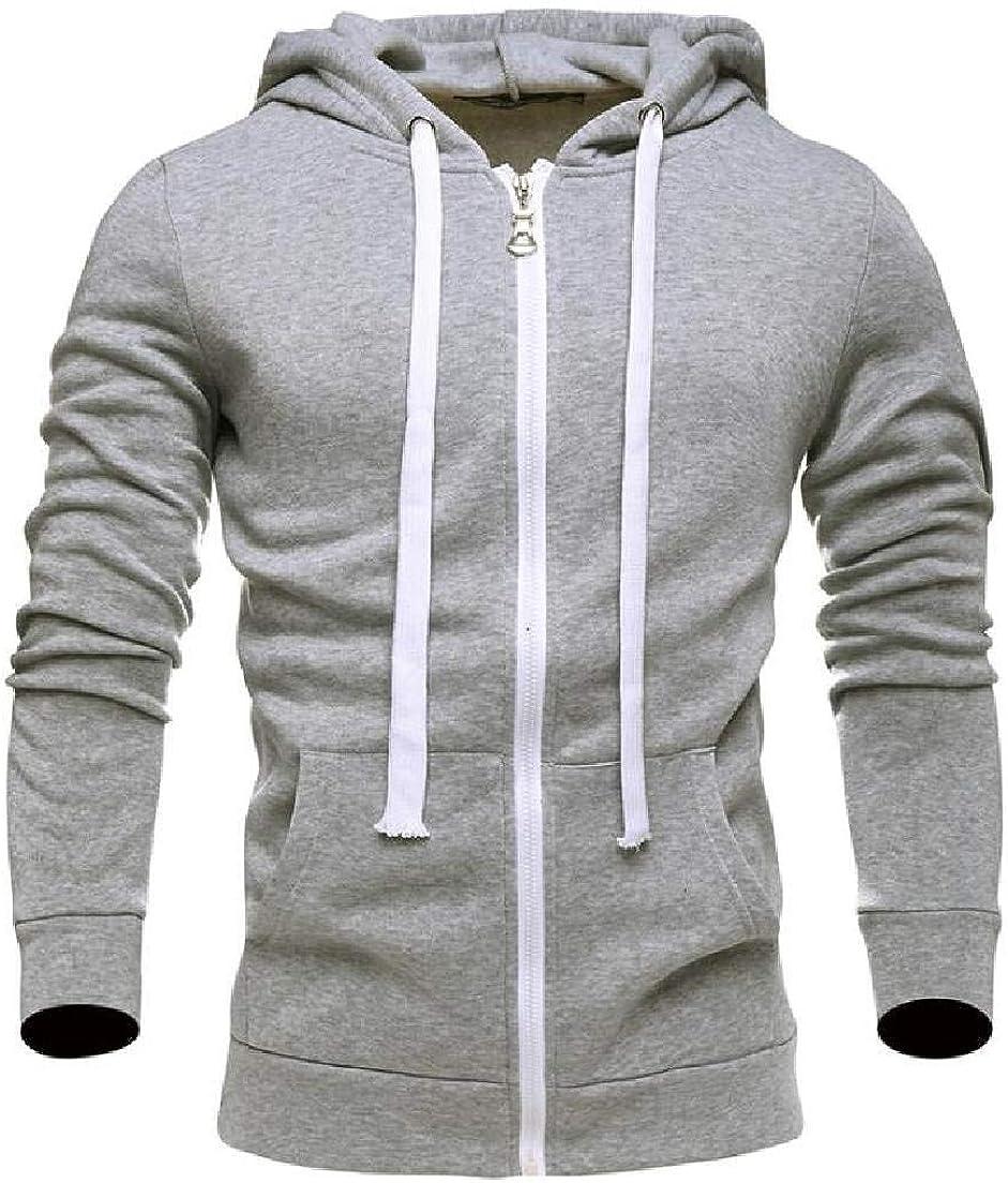 Abeaicoc Men Open Front Sweatshirt Solid Long Sleeve Zipper Cotton Hoodies Sweatshirt