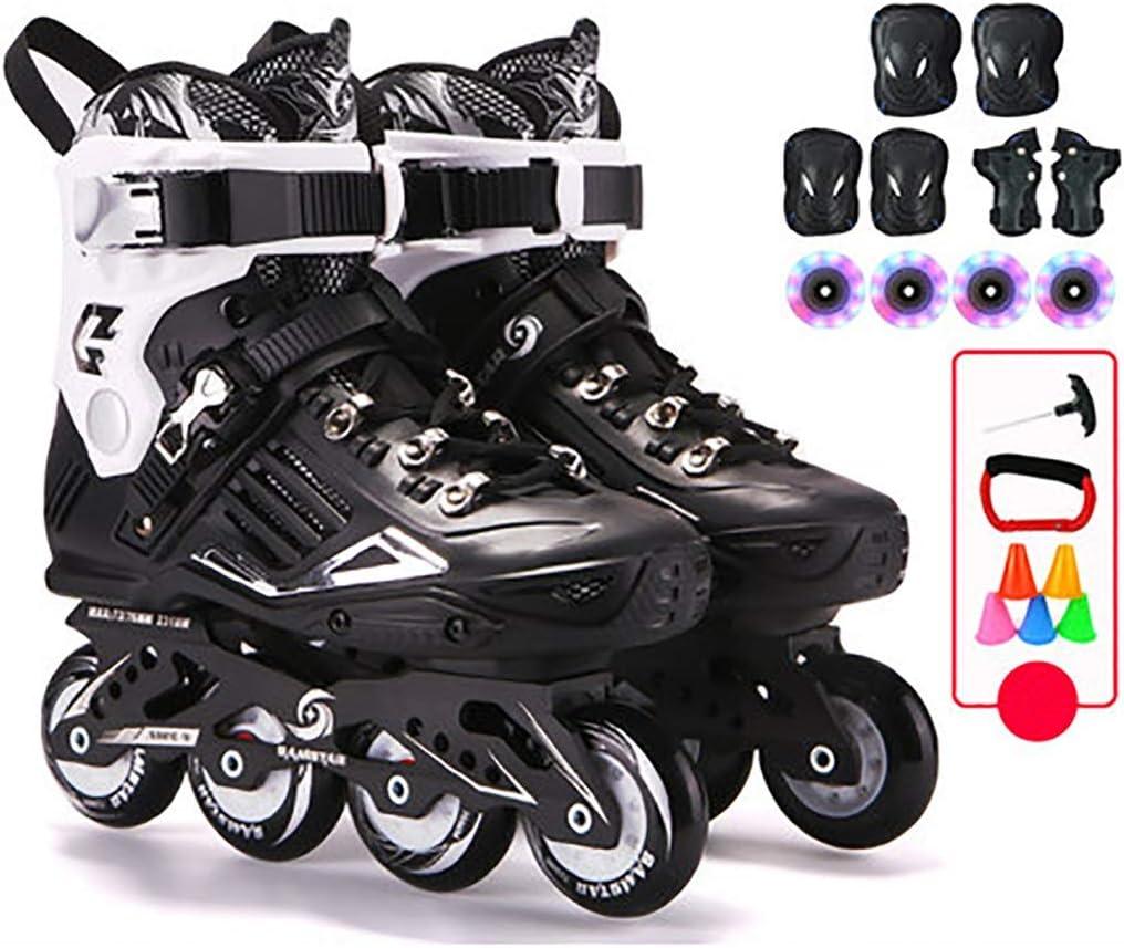 成人初心者の屋外インラインスケート、女性と男性のローラースケート、黒と赤 (Color : B-黒, Size : EU 40/US 7.5/UK 6.5/JP 25cm) B-黒 EU 40/US 7.5/UK 6.5/JP 25cm