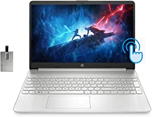 "2021 HP 15.6"" FHD IPS Touchscreen Laptop Computer, 10th Gen Intel Core i5-1035G1 Processor, 12GB RAM, 256GB SSD, HD Audio, HD Webcam, Intel UHD Graphics 620, Win 10, Silver, 32GB SnowBell USB Card"