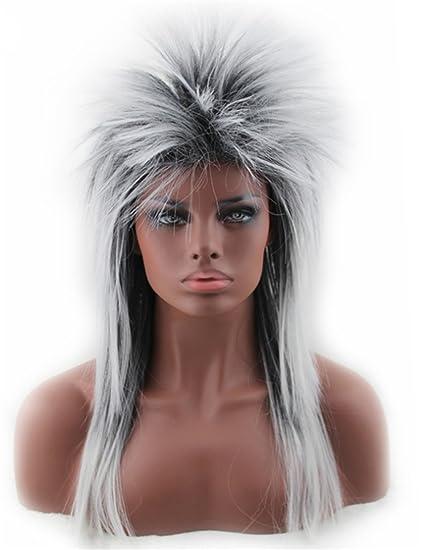 De la Mujer de los años 80 para la Maxx Spiky Rocker peluca Rock Star color