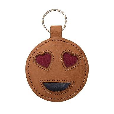 Amazon.com: Llavero de piel con diseño de emoticonos con ...