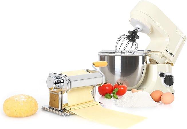 KLARSTEIN Carina Morena Pasta Maker Set Robot de Cocina 800 W y máquina para Hacer Pasta (Incluye Recipiente Acero Inoxidable, batidora Universal) - Crema: Amazon.es