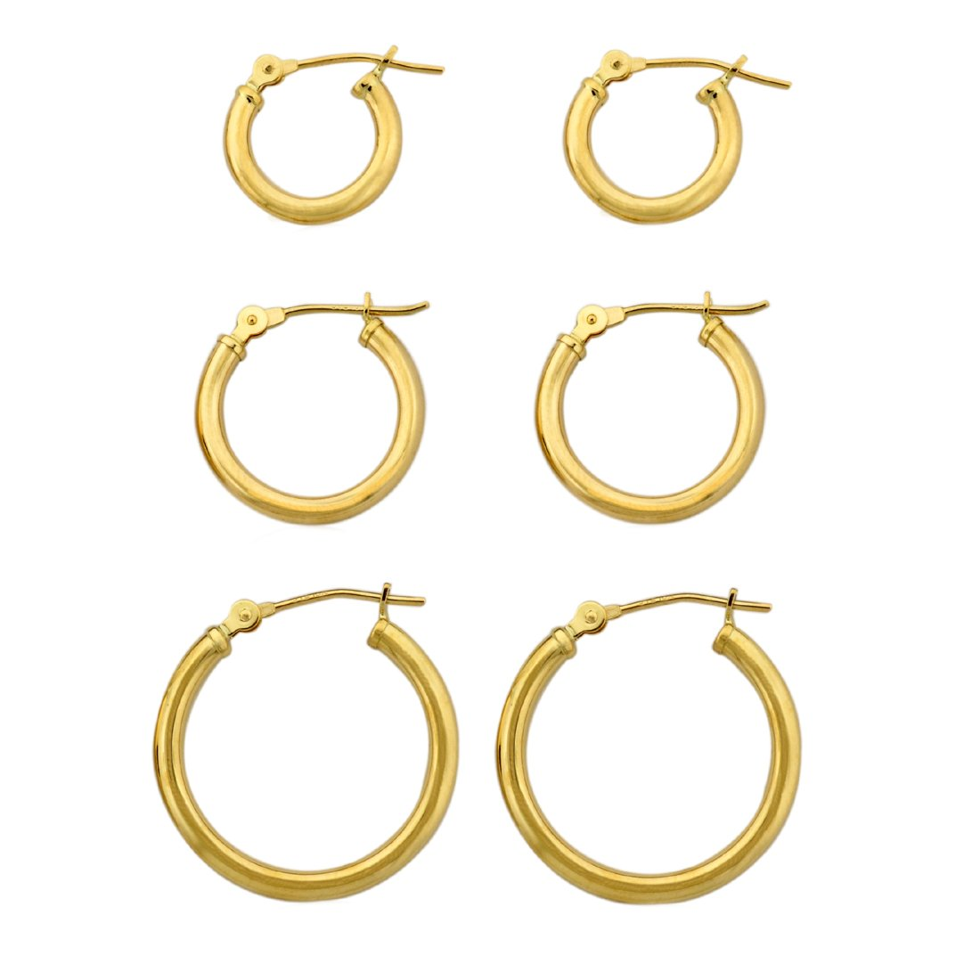 3 Pairs-10k Yellow Gold Polished Tube Clip Hoop Earrings Set