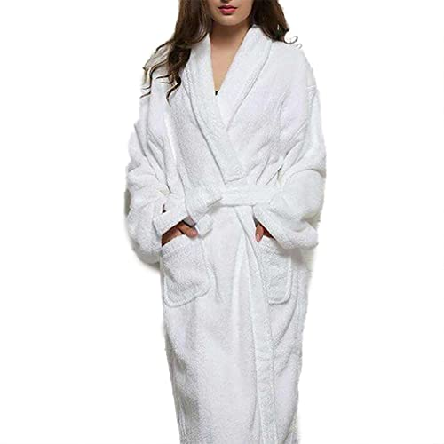 Honghu Mujer Casual Lose Manga Larga Warm halten Sleepwear One Size Blanco