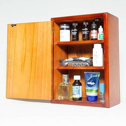 Medicine Cabinet   Wooden   3 Shelves   Left Hinge   Mahogany