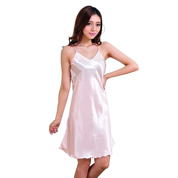 ac81c35404c8 OULII Sexy Pyjamas V-Neck Sleepwear Ladies Nightwear Strap Pajamas ...