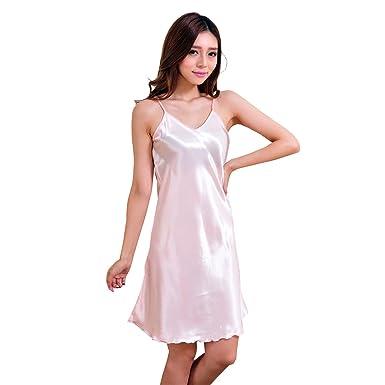 0352c045a299cb Tinksky V-Neck Sleepwear Breathable Satin Chemises Nightwear Strap Pajamas  Dress for Women Size M(Pink): Amazon.co.uk: Clothing