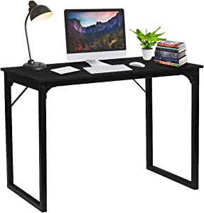 "KingSo Computer Desk 39"" Modern Simple Style Laptop Office Desk Wood Notebook Industrial Black Desk Table, Metal Frame Study Desk Gaming Desk for Home Office Workstation"