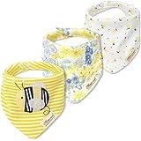 JN/&LULU 3-Pack Newborn Baby Bibs Baby Bandana Drool Bibs for Drooling and Teething,Organic Cotton Bibs for Baby Shower Gifts