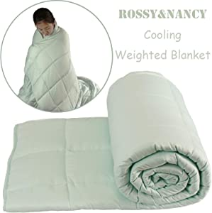 Rossy&Nancy Bamboo Viscose Cooling Weighted Blankets for Sleeping Premium Heavy Blanket with Glass Beads for Kids Adult(Mint Green, 48''x72'' 15lbs)