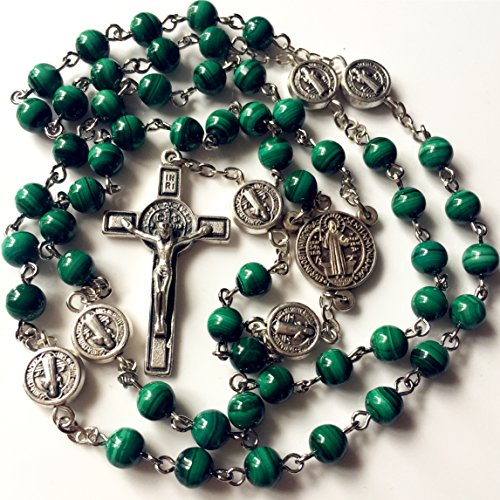 elegantmedical HANDMADE UNDOUBTED 6MM Green Malachite Jade Beads St. Benedict Rosary cross/crucifix Necklace Box Catholic Gift (Green Jade Crucifix)