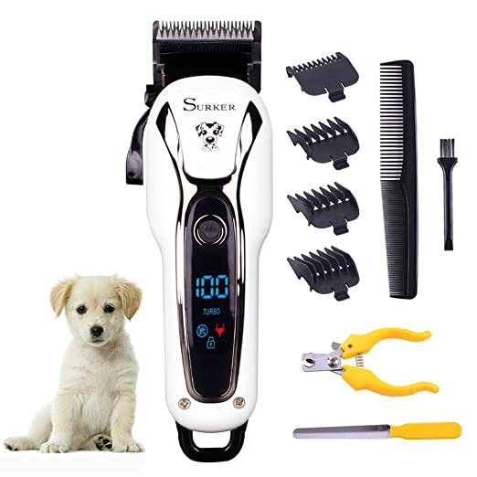 SURKER Dog grooming Dog Clippers Pet Clippers Pet Grooming Supplies Kit with Nail Clippers and Nail file for Cats and Dogs LED Screen Heavy Duty WhiteBlack