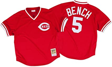 cheap for discount 9640c 0d8d8 Mitchell & Ness Johnny Bench Red Cincinnati Reds Authentic Mesh Batting  Practice Jersey
