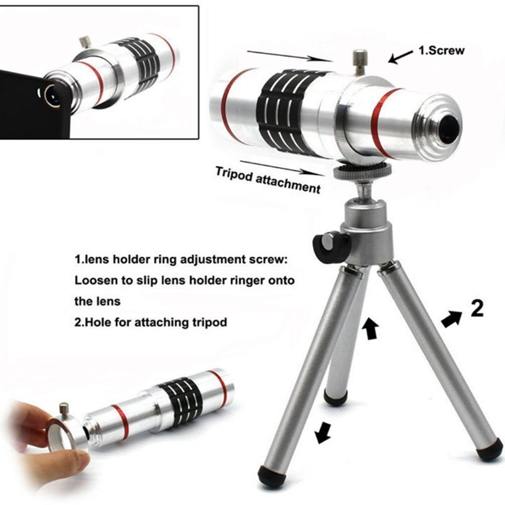 Youniker Optical Camera Lens Kit for Samsung Galaxy S7 Edge,18x Manual Focus Telephoto Lens for Samsung S7 Edge,Including 18x Aluminum Zoom Telescope Camera Lens With Tripod + Samsung S7 Edge Case by Youniker (Image #3)