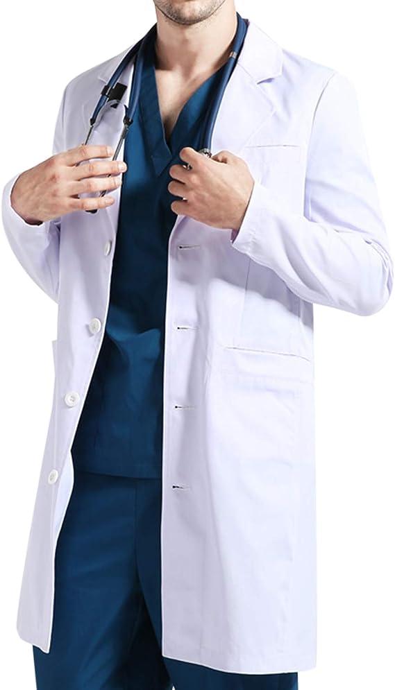 WhiFan Bata de Laboratorio Blanco Uniformes de Trabajo, para Laboratorio Escolar de Médico Uniforme Sanitario Ropa de Trabajo: Amazon.es: Ropa y accesorios