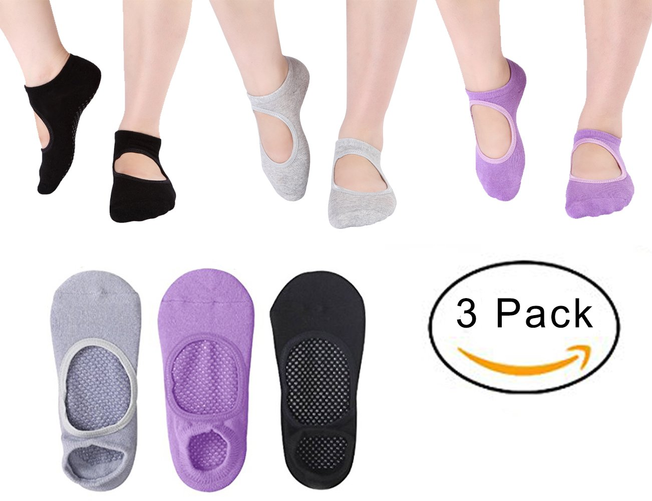 Yoga Socks Women Non Slip Socks Pilates Ballet Barre Socks with Grips Anti-Skid Sox 3 Pairs(Size 5-9)