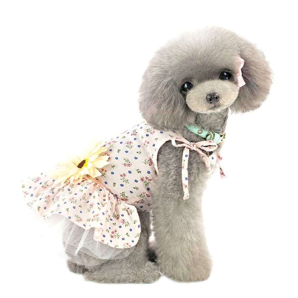 Robluee S-2XL Transpirable y Suave Perro Cachorro y tut/ú para Mascotas Falda de algod/ón con Estampado de Margarita