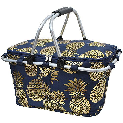 NGIL Southern Pineapple Print Insulated Picnic Basket Gold Collection