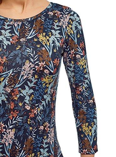 au Dos Goutte Encolure Femme Collection Robe d' oodji avec 7945f Eau Maille Bleu w6zRqv