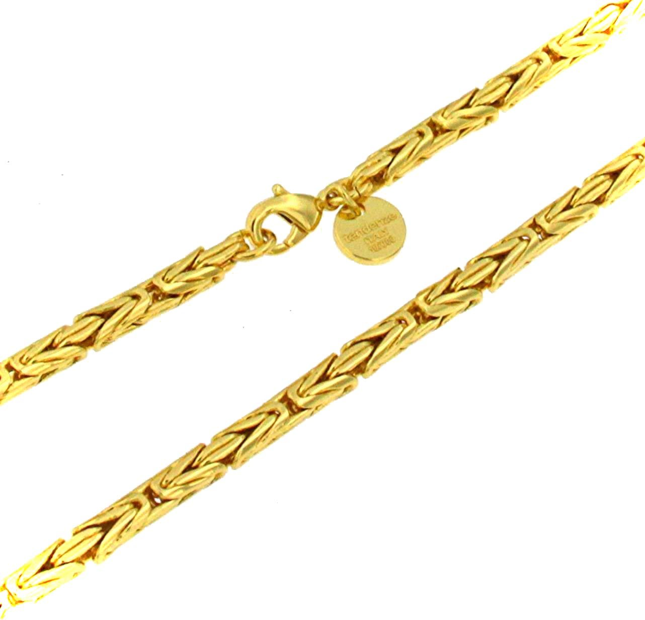 Round Byzantine Chain Necklace 18ct Gold Doublé Width 3.5 mm/0.14'', Length 65cm/25.59'', Men Women Jewelry Gift From Italian Factory tendenze BZGYRds3,5-65