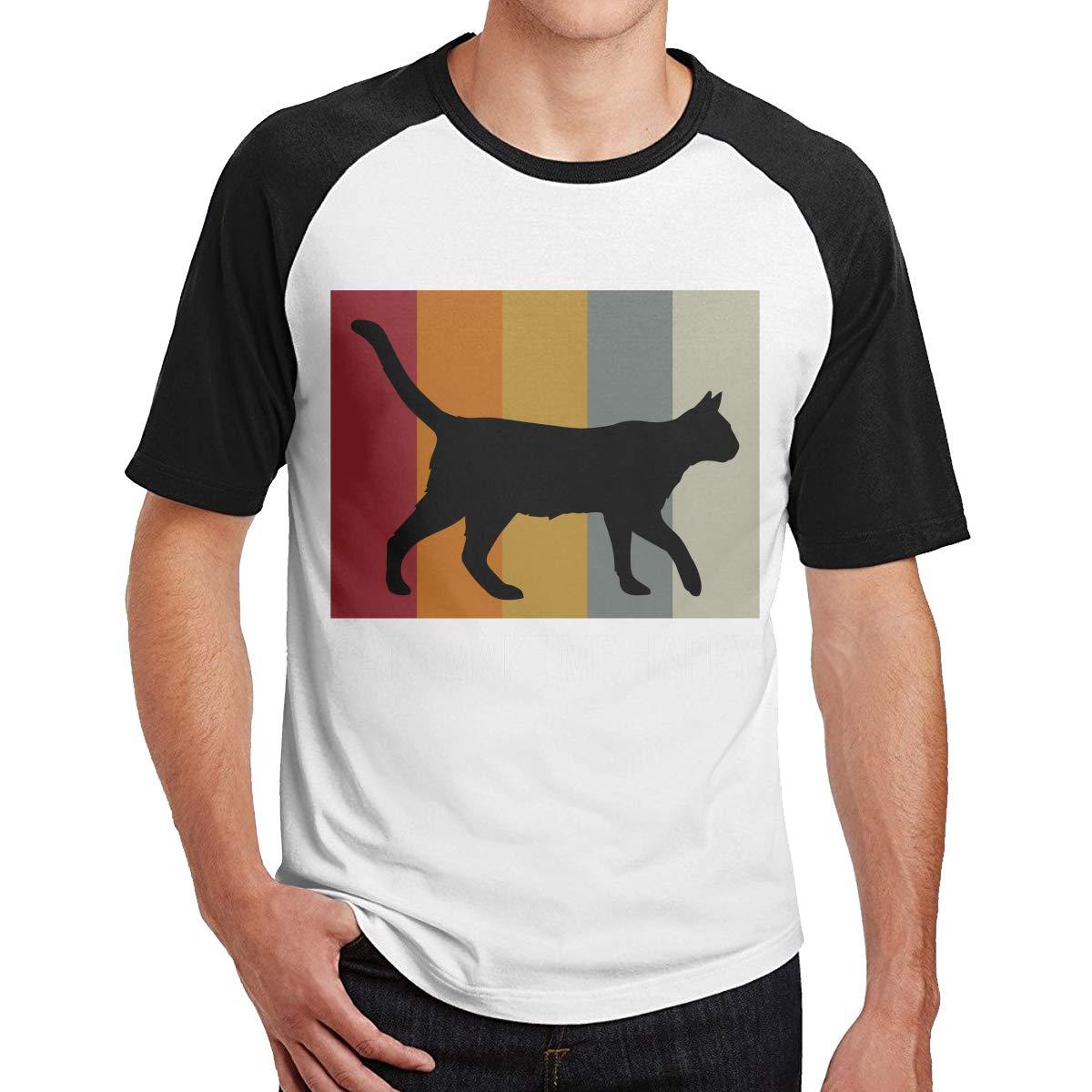 Cats Make Me Happy 0 Adult Mens Color Blocking Cool T-Shirts