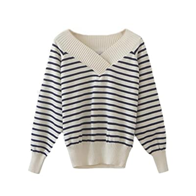 Aivosen Pull Femme Mode Col V Chandails à Manches Longues Rayures Casual Pullover Sweater Tops Tricots