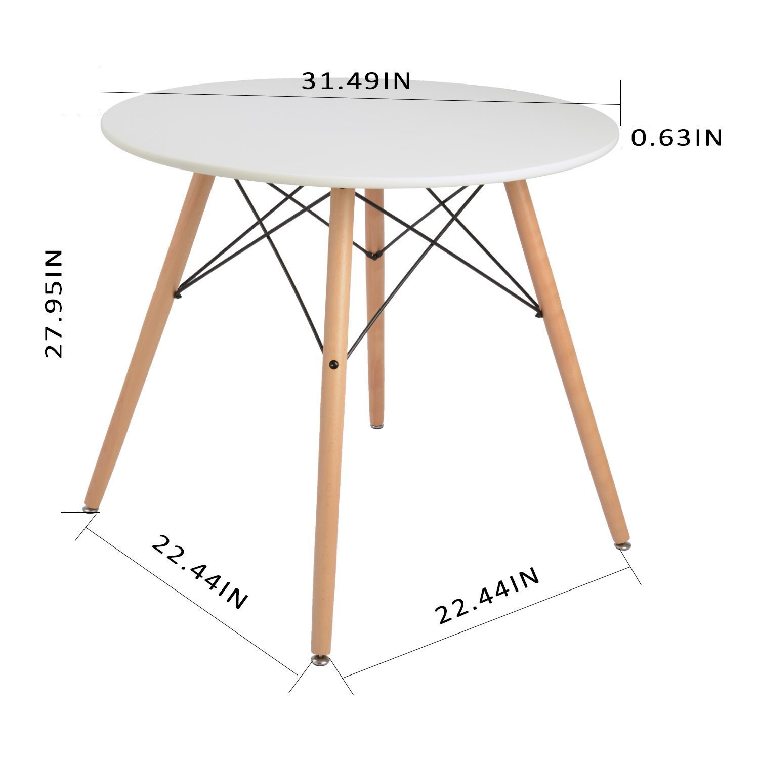 Coavas Kitchen Dining Table White Round Coffee Table Modern Leisure Wooden Tea Table Office Conference Pedestal Desk by Coavas (Image #10)