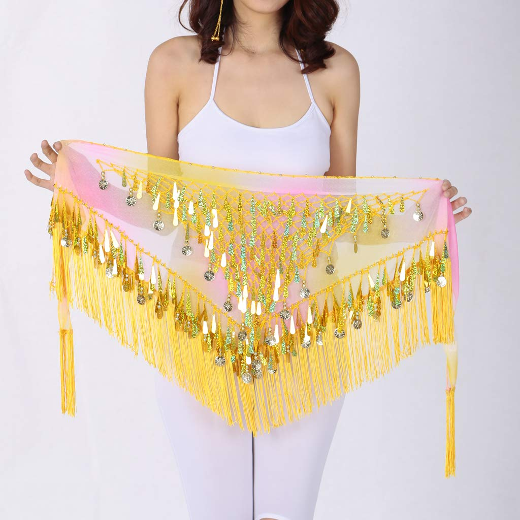 Fenteer Festival Belly Dance Costume Hip Scarf Wrap Scarf Coin Sequin Belt Skirt with Irregular Tailoring and Stylish Look /& Dynamic Tassel Design