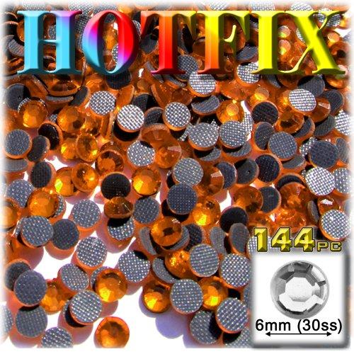 - The Crafts Outlet DMC HOTFIX Glass 144-Piece Round Rhinestones Embellishment, 6mm, Orange