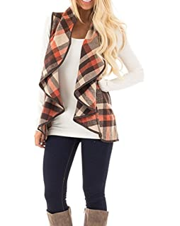 Oksale Womens Vest Woolen Coat Keep Warm Cardigan Coat Sleeveless Jacket (Blue, XXXXL)