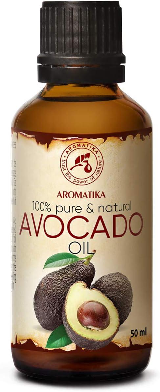Aguacate Aceite 50ml - Persea Gratissima Oil - Sudáfrica - Prensado en Frío y Refinado - 100% Natural y Puro - Botella de Cristal - Avocado Oil