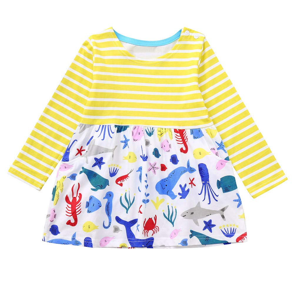 Animal Print Cartoon Striped Dress Outfits Clothes Toddler Baby Kids Girls