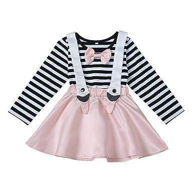 Gyratedream Bebés Niñas Camiseta Vestido Falda de Tul a Rayas Una ...