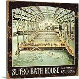 Canvas on Demand Premium Thick-Wrap Canvas Wall Art Print entitled Sutro Bath House San Francisco Vintage Advertising Poster 30''x30''